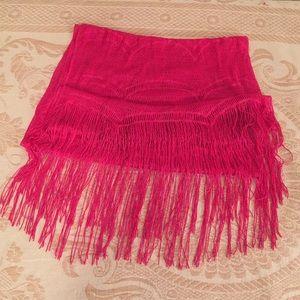 Accessories - Fuchsia fringe shawl